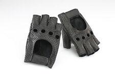 Retro Fahrrad Handschuhe Leder halbfinger schwarz, cycle gloves, perforiert