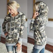 New Womens Long Sleeve Hoody Hoodie Sweater Sweatshirt Pullover Camouflage Tops