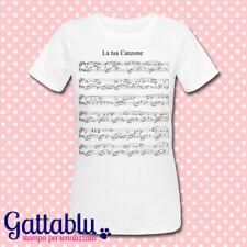 T-shirt donna PERSONALIZZABILE con SPARTITO MUSICALE della tua CANZONE PREFERITA