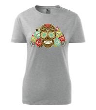 New Women Colour Fashion S-XXL Vintage Sugar Skull Halloween Top T shirt 0019