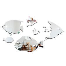 6 Fische Spiegel Set Deko Goldspiegel Kunststoff PS mit Klebepunkt Bad Dusche WC