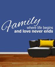 Familia donde comienza la vida de pared quote/sticker/decal / mural de vinilo de transferencia