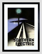 Viajes tren eléctrico vía férrea Lámpara Luz Costa enmarcado impresión B12X10276