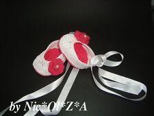 BABY GIRL HANDMADE CROCHET WHITE WITH FLOWER RIBBON BALLET SHOE BOOTIE SLIPPERS