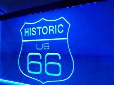 Historic US Route 66 LED Sign BLUE Car Garage Light