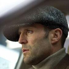 Men Wool Herringbone Tweed Gatsby Newsboy Ivy Hat Golf Driving Flat Cabbie Cap