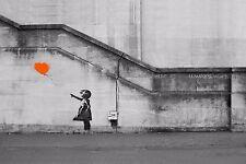 Banksy Orange Balloon Girl Hope Graffiti Art Picture Fabric Wall Sticker Poster