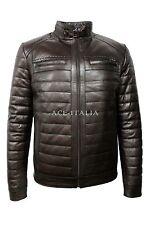 Para hombres 9050 De lujo Informal Elegante Marrón Cuero Napa Color Real Vege Chaqueta De Moda