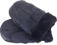 Original 100% real de piel de oveja Cuero Guantes Mitones Black/black Piel Unisex # 0m