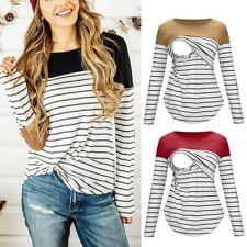 Maternity Pregnant Long Sleeve Striped Breastfeeding Nursing Tops T-shirt Blouse