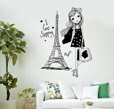 Wall Decal Pretty Teen Girl Paris Woman France Shopping Vinyl Stickers (ig3040)