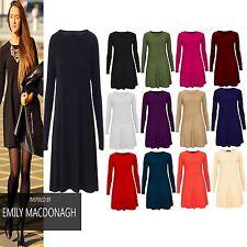Women Plain Swing Skater Print Long Sleeve Ladies Maternity Plus Size Top Dress
