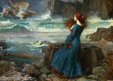 John William Waterhouse Miranda Pre Raphaelite Canvas Art Painting Poster Print