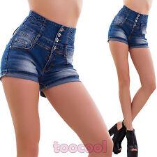 Jeans donna pantaloncini pinup vita alta hotpants shorts slim sexy nuovi DF9869