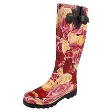 Donna X1014 Rosso/Rosa / Crema con Rose Stivali di GOMMA da Spot On