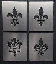 Fleur de Lis Lys Tudor Emblema Motivo Plantilla Plantilla De Acero Inoxidable 4cm X 3cm