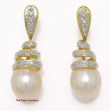 14k Yellow Solid Gold 6 Sparkling Diamonds; Pink Pearl Dangle Stud Earrings TPJ