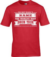 Drum Tech Homme Personnalisé T-Shirt Roadie concert tour Drums technicien Batteur