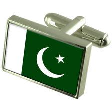 Pakistan Flag Cufflinks Tie Clip Lapel Badge Gift Set Engraved WFC330