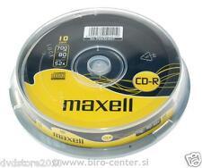 10 CD -R Maxell  vergini vuoti CONFEZIONE  700MB 52X 80min + 1cd verbatim 624027