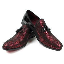 Men's Slip On Black/Red Velvet Tassel Tuxedo Loafers Formal Dress Shoes  SPK 6