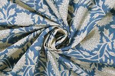 5 Yard Indian Hand Block Print Pure Cotton Fabric Running Blue Sun Flower Fabric