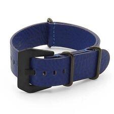 DASSARI Concrete Italian Leather Watch Band Mens Strap in Blue w/ Black Hardware