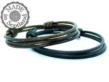 Black Brown Wristband Wrap Goth Cuff Leather Triple Wrist Wrap Surfer Bracelet