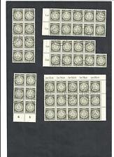 DDR 1954, Michenrn. Dienst A MiNr. 22 o, verschiedene Bogenteile o, Auswahl