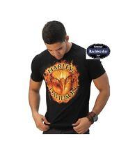 HARLEY DAVIDSON T-shirt noir modèle Flaming Aigle