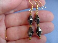 (EE-347) 2 diamond shaped Black hematite beads gold wire dangle pair EARRINGS