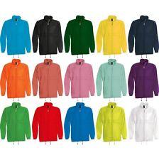 Mens B&C Sirocco Showerproof Coloured Wind Breaker Zip Jacket Fold Away