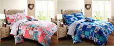 Colcha de retazos Reversible Chic Azul Rosa Funda de edredón y almohada CASE SET