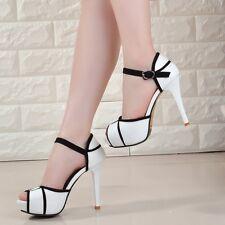 New Womens Platform Stiletto High Heels Belt Buckle Peep Toe Shoes Sandals Party