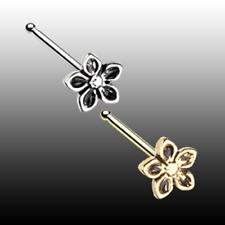 Silver 20g 7mm Sexy Vintage Fun Golden Antique Heirloom Flower Nose Bone Ring