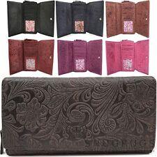 Ladies / Womens Large Genuine Leather Vintage Floral Purse / Clutch