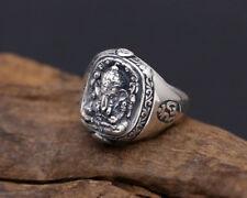 Sterling Silver Lord Hindu Ganesha Namaste Om Omh India Yoga Ring Men A3575