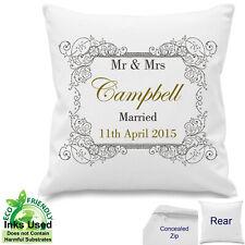Mr Mrs Wedding 2nd Anniversary Keepsake Personalised Cushion Canvas Cotton Gift