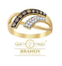 Brandy Diamante® Marrón Chocolate 10K Oro Amarillo Precioso Wave Anillo .36CT