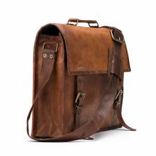 S to XL Leather Messenger Bag Computer Distressed Brown Satchel Briefcase Men