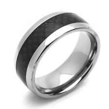 Men Women 8MM Comfort Fit Titanium Wedding Band Carbon Fiber Inlaid Ring