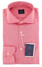 New $600 Luigi Borrelli Pink Solid Shirt - Extra Slim - (EV06RC11180)