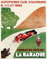 POSTER 1933 COURSE DE COTE LA BARAQUE CAR MOTO RACE VINTAGE REPRO FREE S/H