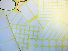 Libro Blanco Stickers, Autoadhesivos Etiquetas Adhesivas, diferentes tamaños, economía Pack