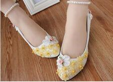 Escarpin éscarpins ballerine blanc motif à fleurs jaune jeune mariée dentelle