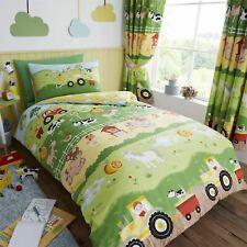 HLC Childrens Boys Girls Farm Animals Green Reversible Duvet Cover Curtains Set