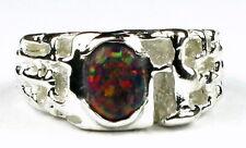 Created Black Opal, 925 Sterling Silver Men's Ring, SR197-Handmade