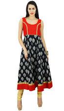 Bimba Women A-Line Designer Cotton Dress Summer Wear Floral Black Printed