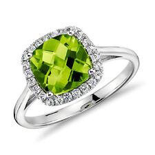 8x8mm Green Peridot and Diamonds 14K White Gold Engagement Halo Wedding Ring