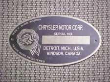 Chrysler Motors Detroit Data Plate 1924 - 1926 Acid Etched Aluminum